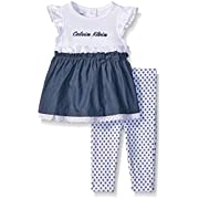 Calvin Klein Baby-Girls White With Dark Blue Chambray Tunic and Leggings, Multi, 3-6 Months