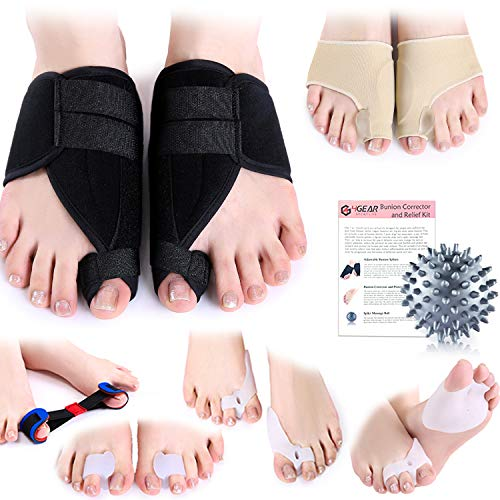 - Bunion Corrector & Relief Kit-12 PCs-Adjustable Bunion Splints, Bunion Protective Sleeves, Toe Separators, Exercise Strap & Spiky Massage Ball-Pain Relief in Hallux Valgus, Hammer Toe & Tailor Bunion