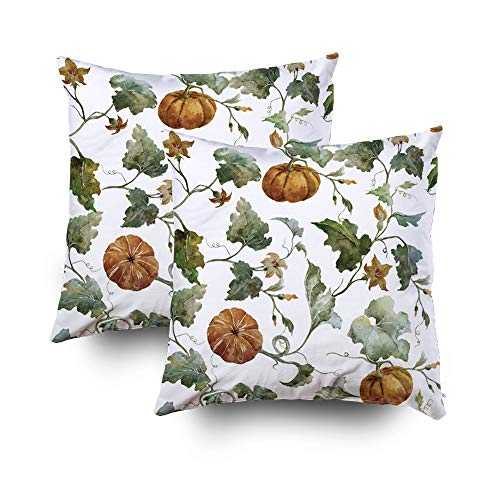 (Musesh Pack of 2 Christmas Pumpkin Watercolor Wallpaper Cushions Case Throw Pillow Cover for Sofa Home Decorative Pillowslip Gift Ideas Household Pillowcase Zippered Pillow Covers)