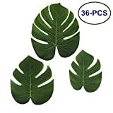 LJDJ Tropical Leaves Palm - Set of 36 - Artificial Silk Fabric Monstera Decoration Leaf 3 Different Sizes Small Medium Large - Hawaiian Luau Jungle Beach Pink Flamingo Party Supplies Table Decor