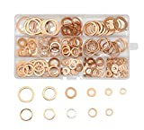 LepoHome 280Pcs 12 Sizes Flat Ring Copper Metric Sealing Washers Assortment Set