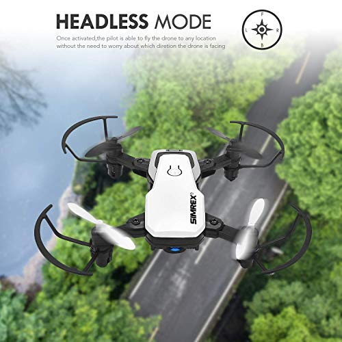 SIMREX X300C Mini Drone RC Quadcopter Foldable Altitude Hold Headless RTF 360 Degree FPV Video WiFi 720P HD Camera 6-Axis Gyro 4CH 2.4Ghz Remote Control Super Easy Fly for Training(White)