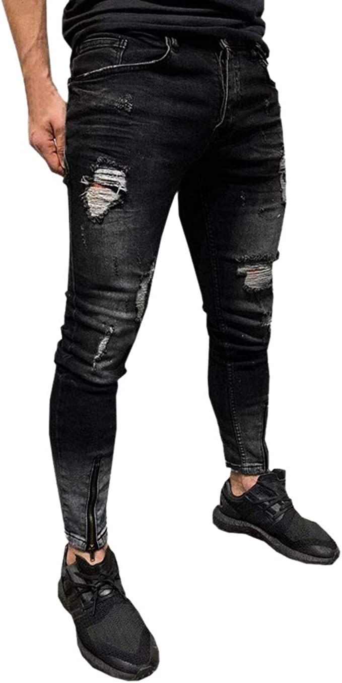 junkai Männer Skinny Distressed Jeans Mode Zerrissene Denim