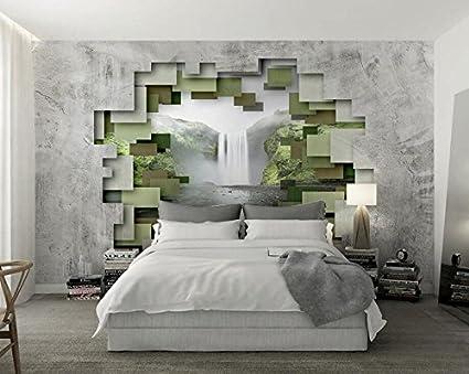 Carta Da Parati In 3d.Carta Da Parati 3d Stereoscopico Poligono Geometrico Muro Di Cemento