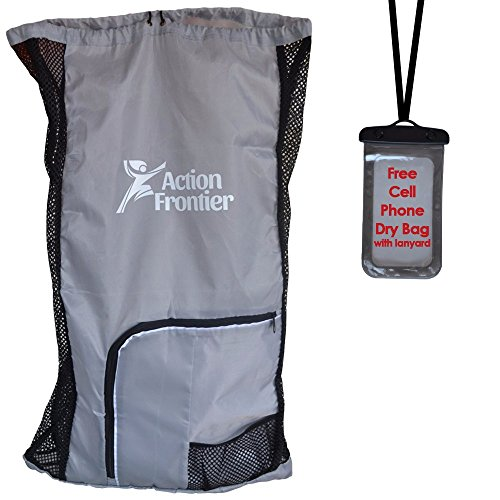Action Frontier Swim Bag Set - Versatile Reusable Nylon-Mesh Drawstring Backpacks for Sports, Trips, Beaches, Exercise, and Outdoor Activities (Frontier Sunglasses)