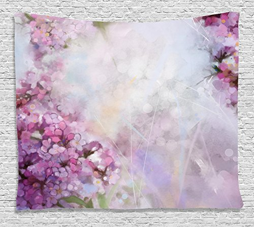 Ambesonne Watercolor Flower Home Decor Tapestry by, Roman Hyacinth Petals and Apricot Blooms in Grunge