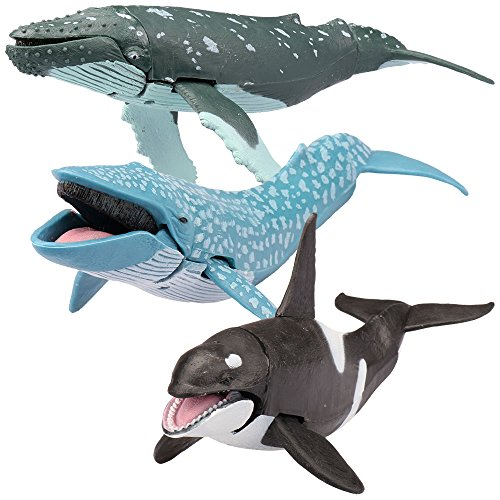 Kid Galaxy Posable Toys. Humpback, Blue, and Killer Whale Figurines. Ocean Animal Figure Playset (3 Piece) - Whale Stem