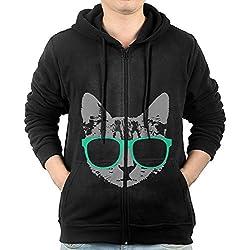 Men's Hoodie Sweatshirt Music Cat With Glasses Long Sleeve Zip-up Hooded Sweatshirt Jacket XXL