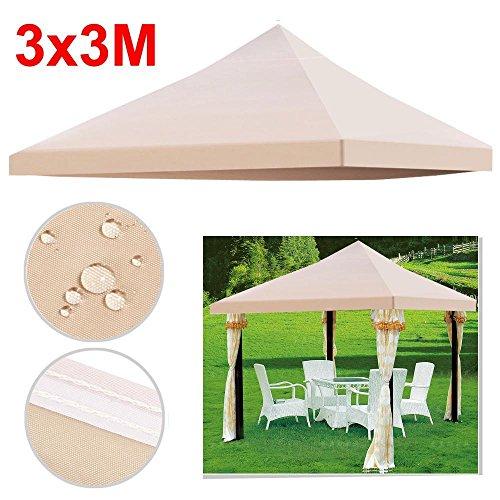 Yahee 3 x 3m Ersatzdach Pavillondach Dach für Pavillon Partyzelt Gartenzelt Festzelt, aus PVC+ Polyester wasserdicht robust (Beige)