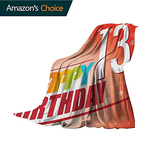 13th Birthday Leisure Blanket,Retro Style Teenage Party Invitation Graphic Design with Bokeh Effect Rays Soft Fabric for Couch Sofa Easy Care,60