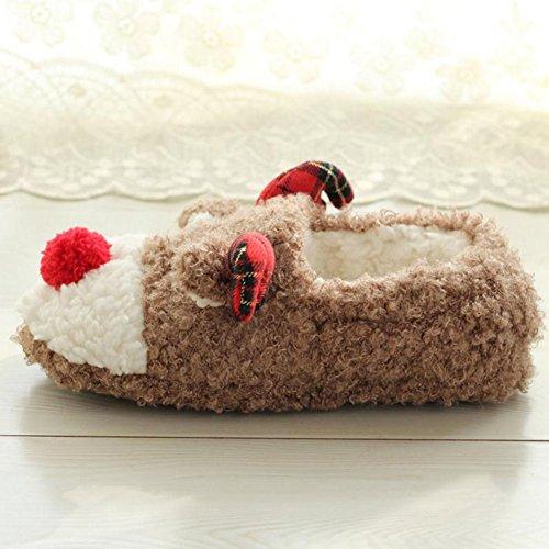Automne Noël Soft glissades confortable Doux Chaussons Anti Lumanuby Cadeaux pour de Pantoufles chaud 1 Peluche et Slippers Paire 36 Hiver Pantoufles d'intérieur wv4wUOYaqx