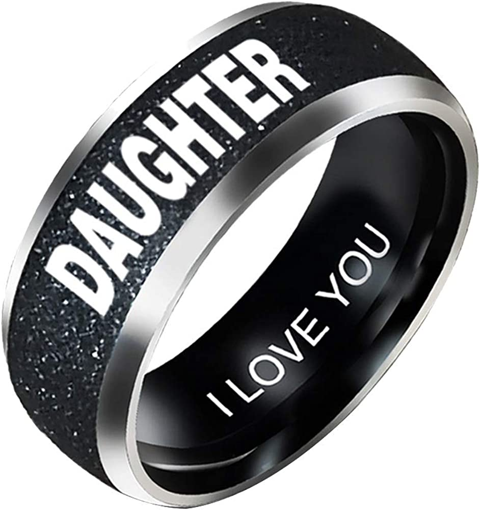 SEniutarm Engagement Love Rings Wedding Bands Fashion Mom Dad Daughter Son Letters Band Stainless Steel Family Member Ring for Women//Girl Finger Rings DIY Jewelry Gifts