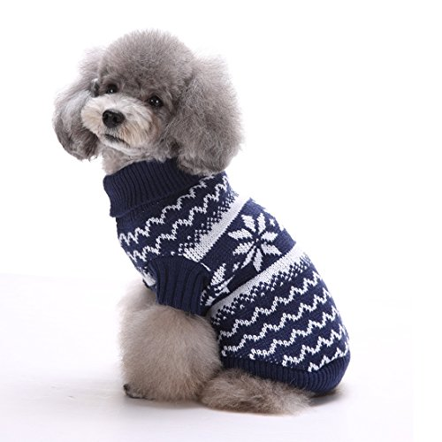 Kuoser Holiday Christmas Classic Snowflake Dog Sweater Knitwear for Cold Weather Small Medium sized dog winter Coat with Collar( XS-XL ), Dark blue M (Italian Greyhound Dog Sweaters compare prices)