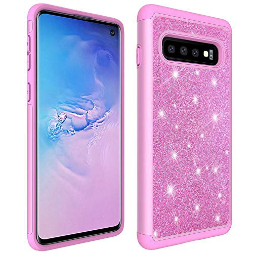 S10 Case Glitter Compatible with Samsung Galaxy S 10 Bumper Bling Protective Cover Phone Skin Slim Thin S10case 10S Gaxaly Gs10 Gallery Back 6.1 inch (Pink)