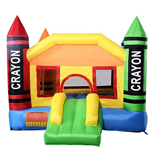 - Costzon Inflatable Bounce House, Castle Jumper Slide Mesh Walls, Kids Party Jump Bouncer House w/Net, Carry Bag Without Blower (Crayon Themed)