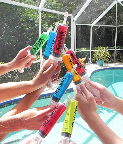 (Jello Shot Syringes 32-Pack, Medium (up to 2oz), The Original JeloShots Gelatin Jello Shot Syringes with Easy-Grip Caps,)