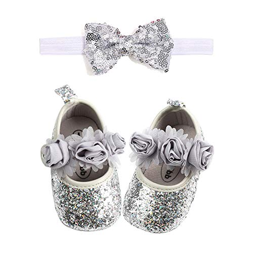 YOHA Infant Baby Girls PU Moccasins Bow Tassels Toddler Shoes with Elastic Bow Headband Set Silver,12