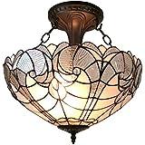 Amora Lighting AM216HL16 Tiffany Style Semi Flush Mount Ceiling Fixture 16 In Wide