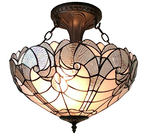 Amora Lighting AM216HL16 Tiffany Style Semi Flush Mount Ceiling Fixture 16 in Wide ()