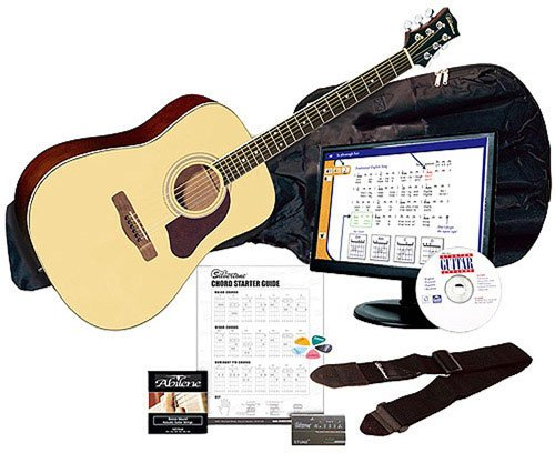 Silvertone SD3000 Complete Acoustic Guitar Package with Instructional Software, Natural by Silvertone