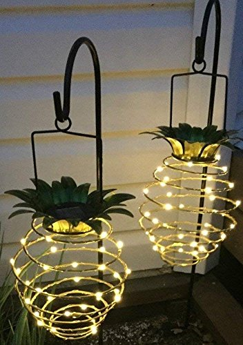 Hanging pineapple light decor, outdoor indoor patio garden backyard driveway pathway home decoration, battery powered, solar operated