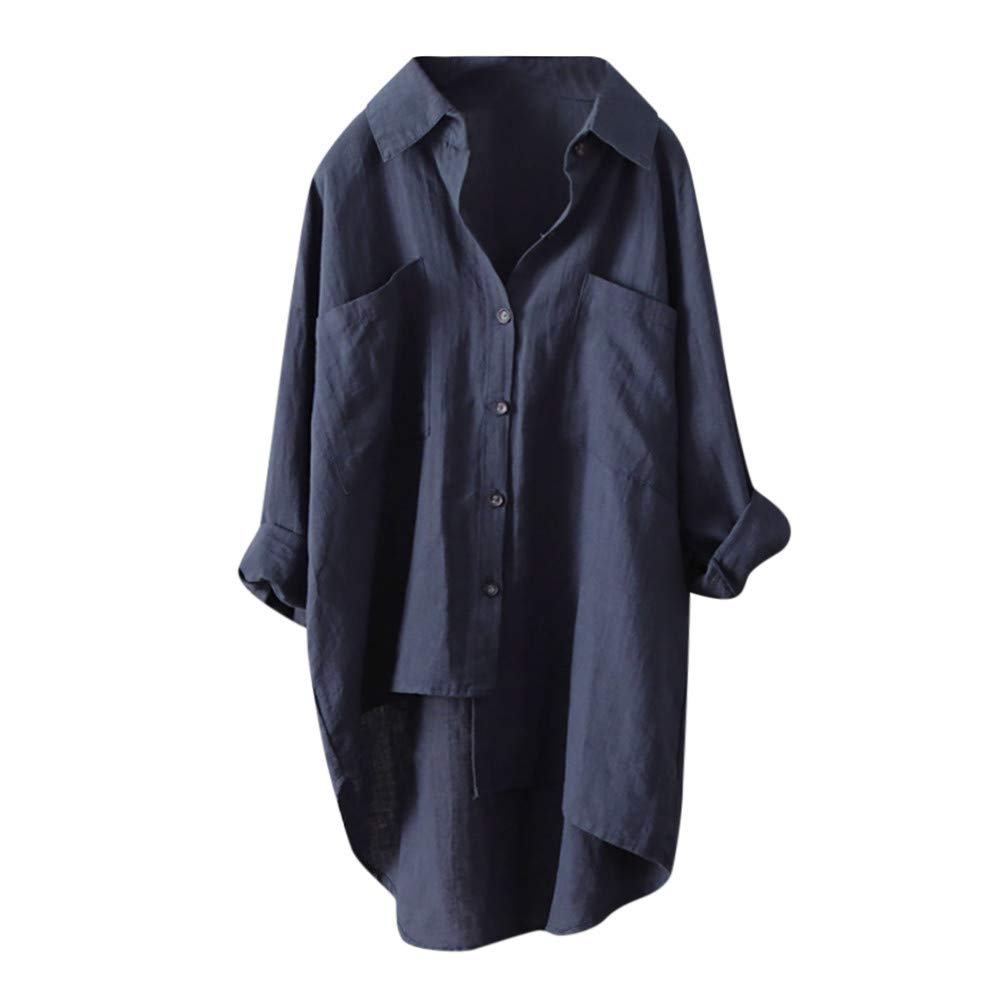 Haut Chic, YUYOUG Rétro Femmes Coton Lin Chemise Casuel Chic DéContracté Large Manches Longues Tee Shirt Bouton Pullover T-Shirt Asymmetrical Occasionnels