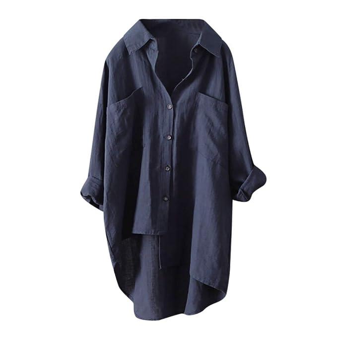 Feixiang ❤ Damas señoras botón asimétrico Alto y bajo Suelto Casual refrescante Camiseta Casual Camisa Camisa otoño e Invierno Larga Solapas señoras Camisa ...