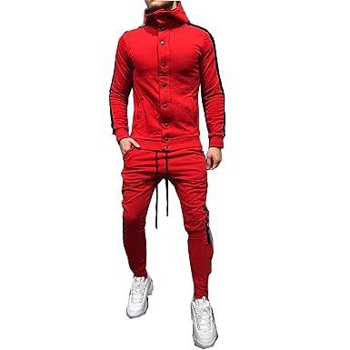 Morbuy Chándal de Hombres Traje de Deportiva Hombres Sudadera + Pantalones Conjuntos, Casual Costura Hip