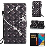 Cover Galaxy X Cover 4 Marble Book Black, Misteem Colorful Fantasy Marble Pattern Soft Leather Credit Card Holder Wallet Shockproof Case Protective Shell for Samsung Galaxy X Cover 4