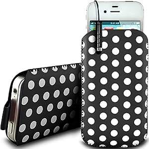 Direct-2-Your-Door - Nokia Asha 310 PU protector Polka de cuero con cremallera diseño antideslizante de cordón en la bolsa del caso con cierre rápido y Mini Stylus Pen - Negro