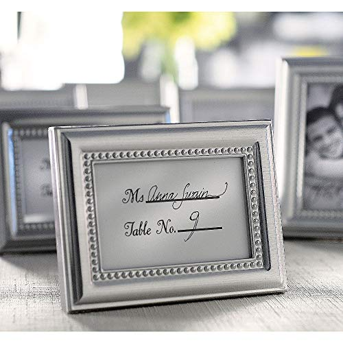 ELEGANI Silver Beaded Photo Frame Place Card Holder Your Wedding Favors ()