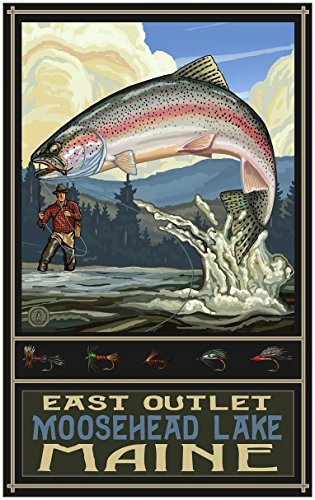 East Outlet Moosehead Lake Maine Rainbow Trout Fisherman Hills Travel Art Print Poster by Paul A. Lanquist (30
