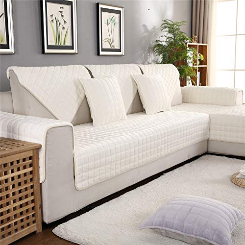 (OstepDecor Flannel Furniture Protector and Couch Slipcover for Sofa, Loveseat, Recliner, Chair, Machine Washable, Slip Cover Throw for Pets, Dogs, Kids, White 36