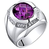 Mens 5.50 Carats Created Purple Sapphire Ring Sterling Silver Size 12