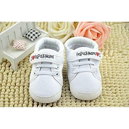 3941ef43c94 zapatos de bebe - SODIAL(R) zapatos ocasionales infantiles de suela suave  de calzado deportivo de patron de I Love Papa Mama de bebe recien nacido  0~6 meses ...