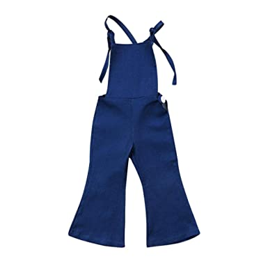 80260ab4ea4f Toddler Kids Baby Girl Sleeveless Backless Strap Denim Romper Overall Boot  Cut Pant Trousers (Blue