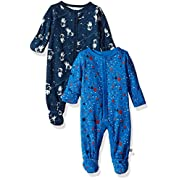 Rosie Pope Baby Boys' Coveralls 2 Pack, Blue Guitar, 6-9 Months