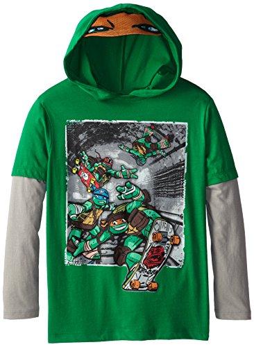 Teenage Mutant Ninja Turtles Big Boys' Long Sleeve T-Shirt Shirt Twofer , Kelly/Silver, Medium / 10/12 - Big Ninja Turtles