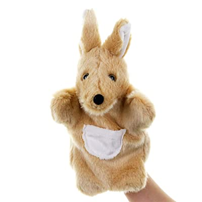 MSTQ New Small Animal Plush Toy Hand Puppet Children's Toy Family Parent-Child Game Doll (Kangaroo, 10 in): Toys & Games