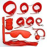 Myronsen 7pcs Leather Bondage Kit Set Hand Cuffs Whip Rope Mask Collar Fetish Bondage Set Bed Bondageromance Restraining Kit Game Toys