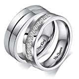 Aeici Stainless Steel Jewelry Couple Ring Her King His Queen Crown Cut Rings Women Size 8 Men Size 9