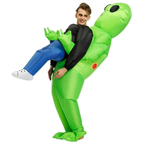 Reuvv - Disfraz Inflable de Alien Verde para Fiesta de Halloween, L-Adult