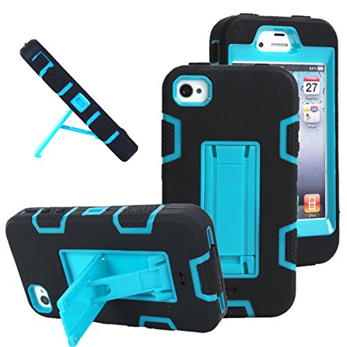 iPhone 4s case, iPhone 4 case, MagicSky Robot Series Hybrid Armored Case with Kickstand for Apple iPhone 4/4S - 1 Pack - Retail Packaging - Blue/Black (Otter Box Cases For I Phone 4)