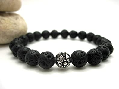 Amazon Com Buddha Bliss Lava Rock And Silver Bead Mens Energy