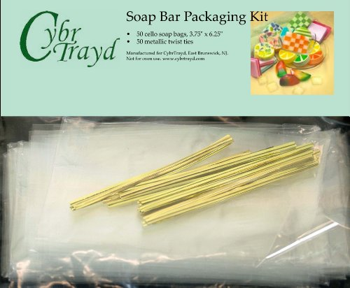 CybrTrayd Soap Bar Packaging Kit: 50 Cello Bags, 50 Metallic Ties and Exclusive Melt 'n Pour Custome Soap Making Instructions