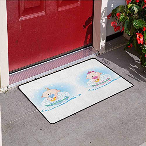 Gloria Johnson Gender Reveal Front Door mat Carpet Cute Girl and Boy Babies in Bath with Bubbles Duck Toddler Picture Print Machine Washable Door mat W31.5 x L47.2 Inch Multicolor (Dog Won T Poop In The Snow)
