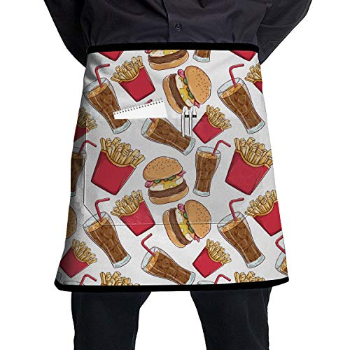 SBDP75wq 2 Pockets Waist Apron,Burger and Soda Pattern Professional Work Half Short Apron for Men Women,Cooking, Grill and Baking,Durable Easy - Apron Soda Shop
