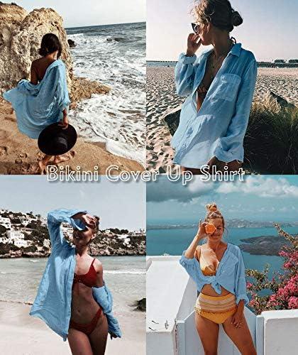 Zoye Chen Women's Bikini Swimsuit Cover Up Button Down V Neck Shirts Long Sleeve Blouse Beachwear Bathing Suit