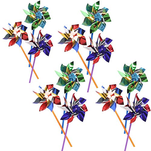 Kicko Colorful Metallic Pinwheels - Pack of 12 Windmills with Stick for Kids and Adults - Perfect Summer, Pool Decoration, Beach-Themed Birthdays, Handy Party Favors, Classic Gift Ideas