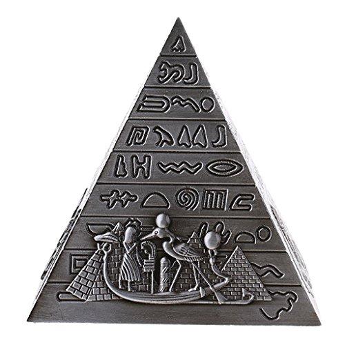 Vintage Metal Landmark Pyramids Figurine Model Architecture Statue Souvenir - Gray